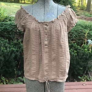 Juicy Couture Brown Peasant Top Size S